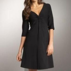 Eileen Fisher Black Crepe Dress 3/4 Sleeve Small
